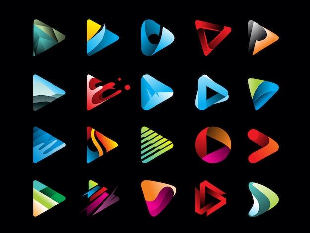 Mega pack of gradient play button icon Premium Vector