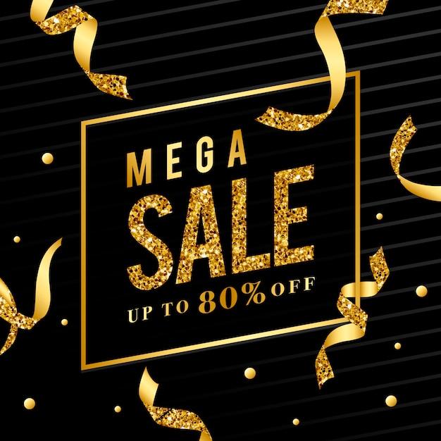 Mega sale 80% off sign vector Free Vector
