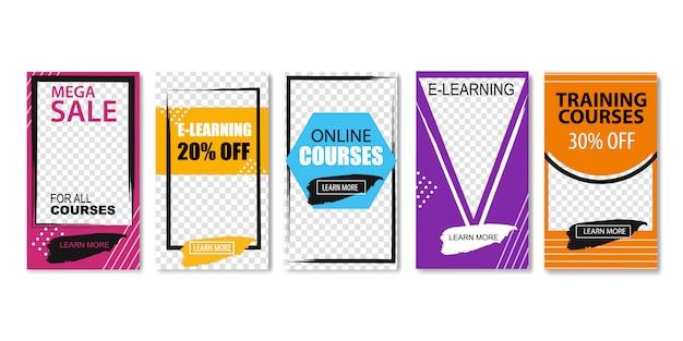 Mega sale for all online courses, e-learning. Premium Vector