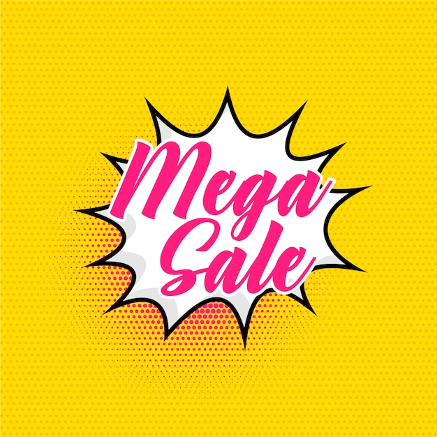 Mega sale background in comic style Free Vector