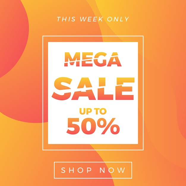 Mega sale banner 50% off Premium Vector