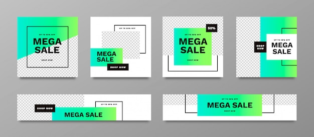 Mega sale banner collection set with vibrant colors Free Vector