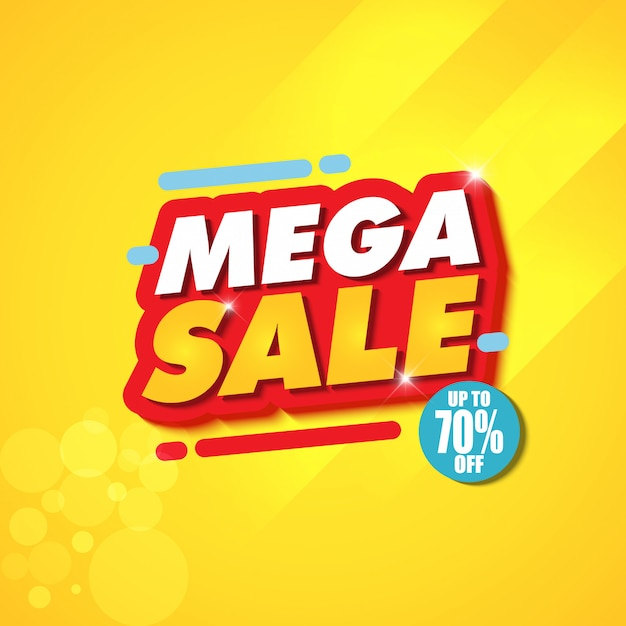 Mega sale banner design template with yellow background Premium Vector