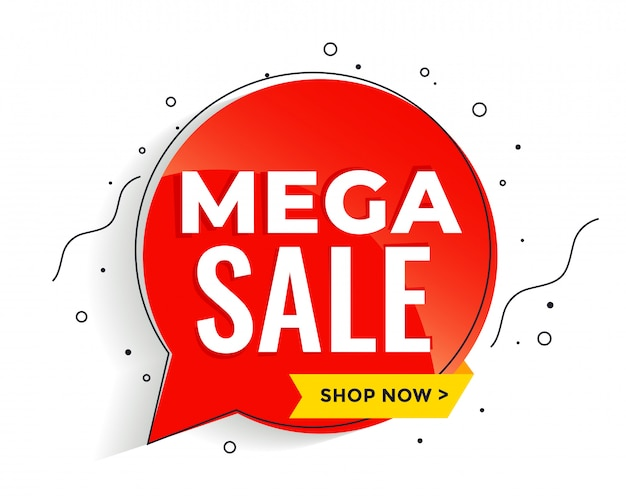 Mega sale banner in memphis style banner template Free Vector