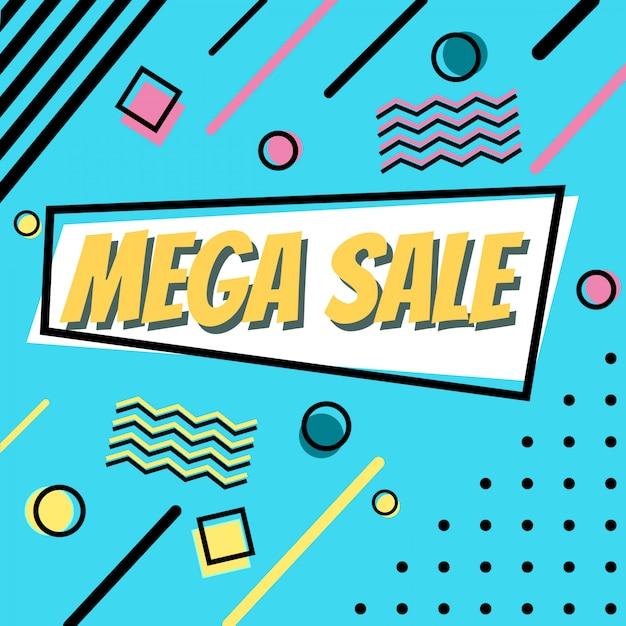 Mega sale banner in memphis style Premium Vector
