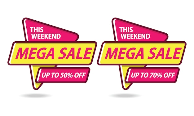 Mega sale banner sticker template vector Premium Vector