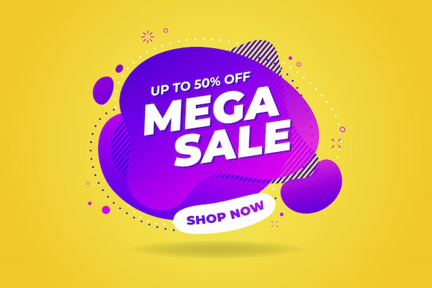 Mega sale banner template design. Premium Vector