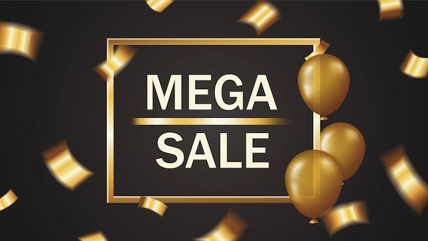 Mega sale banner with falling golden confetti and balloons in gold frame on black background Premium Vector