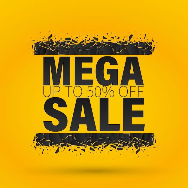Mega sale banner Premium Vector