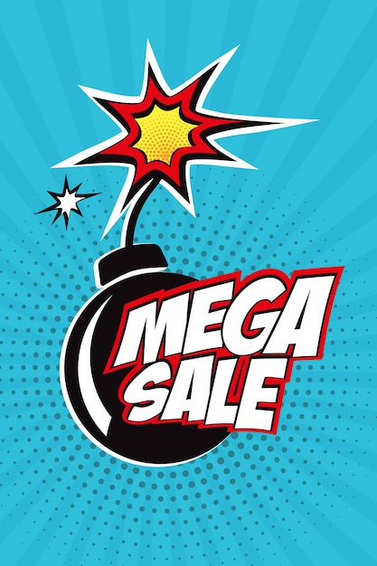 ポップアートスタイルの漫画爆発バブルのメガ販売ベクトルデザイン 無料ベクター