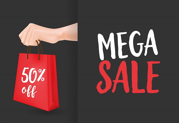 Mega sale, fifty percent off lettering, hand and shopping bag Free Vector