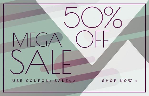 mega sale offer discount banner voucher template design Free Vector