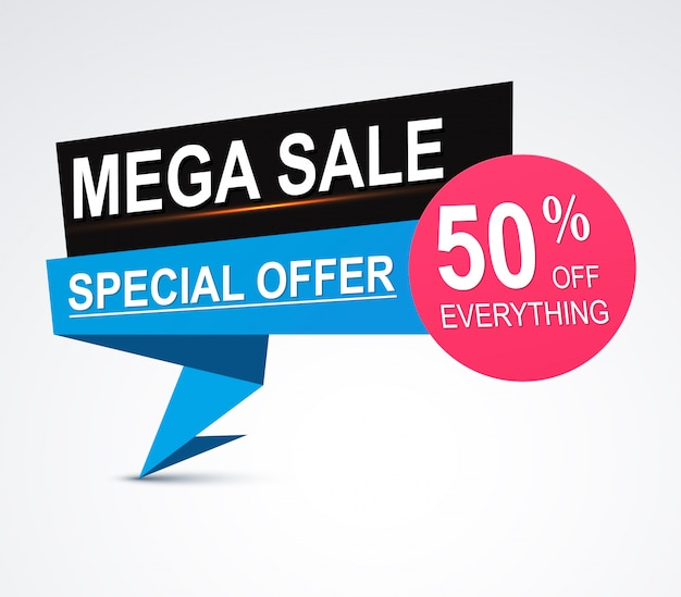 Mega sale origami paper banner 50% discount Premium Vector