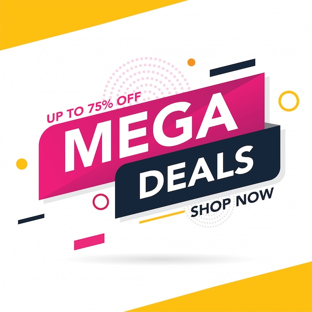 Mega sale promotion banner template Premium Vector