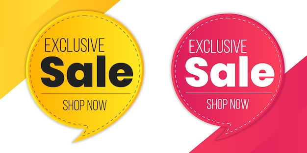 Mega sale red yellow exclusive sale special limited time offer percent discount label Premium Vector