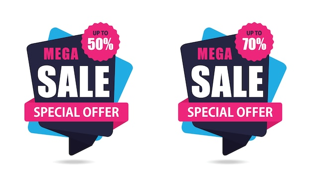 Mega sale stickers Premium Vector