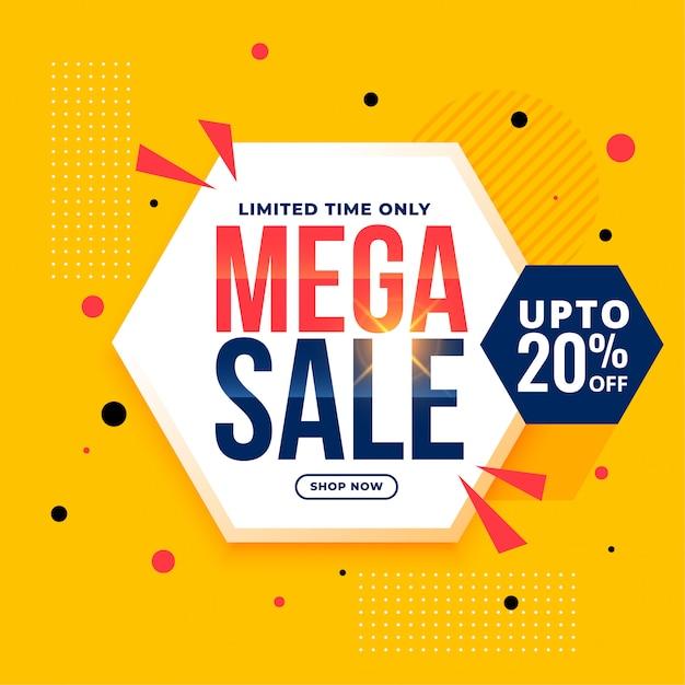 Mega sale yellow hexagonal geometric banner Free Vector