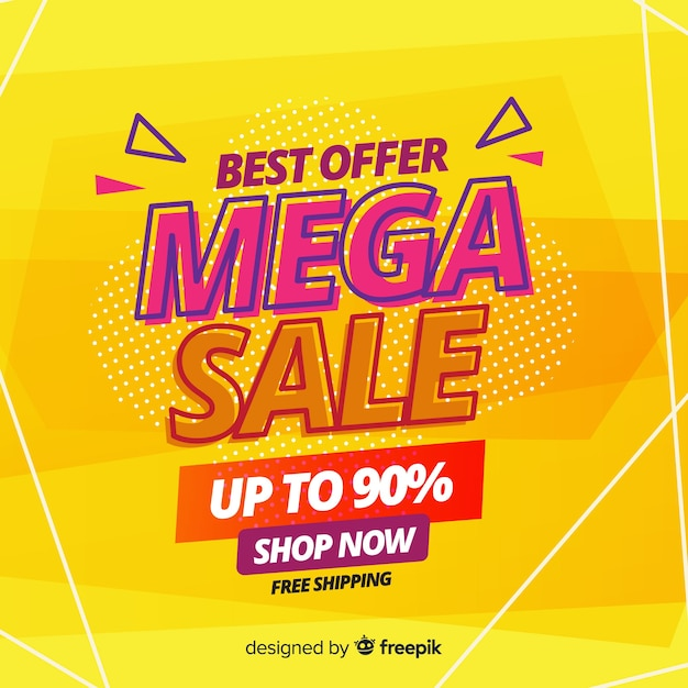 Mega sales background in abstract style Free Vector