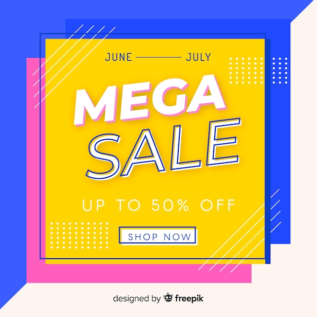 Mega sales background with abstract shapes Vector   Free Download