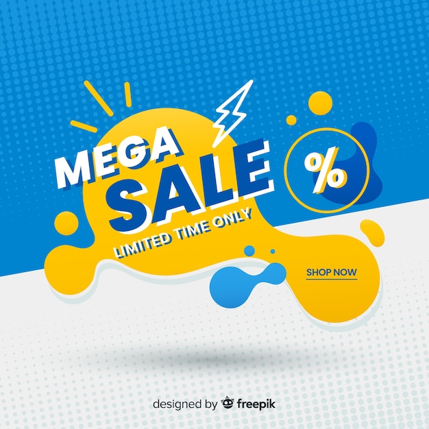Mega sales background with abstract shapes Free Vector
