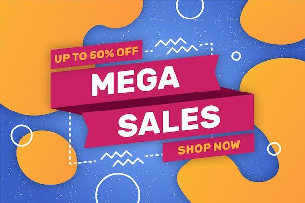 Mega sales shop now background Free Vector