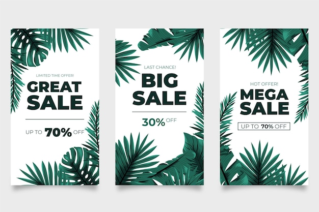 Mega vendite di foglie tropicali storie di instagram Vettore gratuito