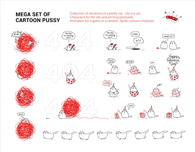 Mega set of cartoon pussy. collection of emotions of a pretty cat. Premium Vector
