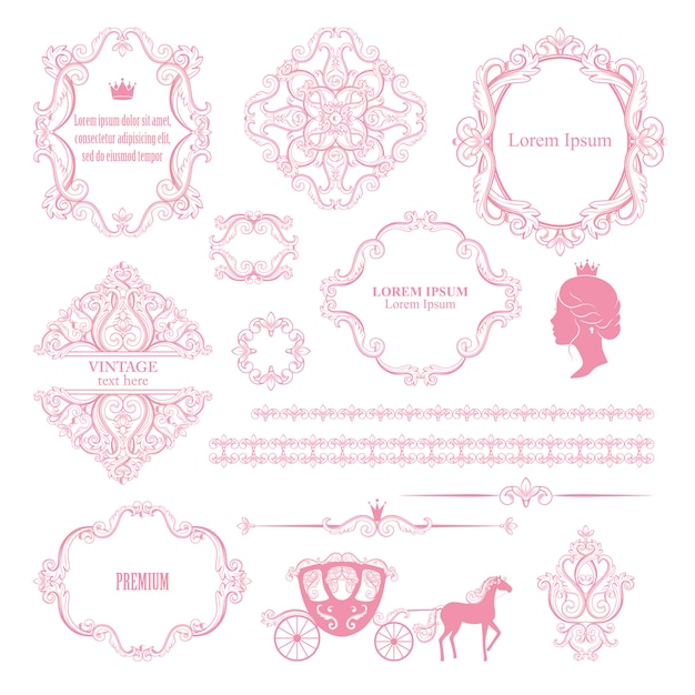 Mega set collections of vintage design elements. Premium Vector