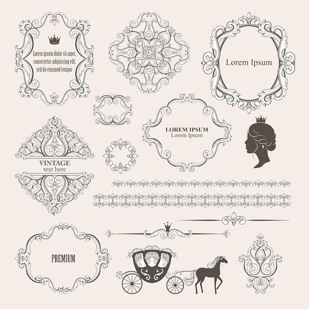 Mega set collections of vintage design elements. Premium Vector