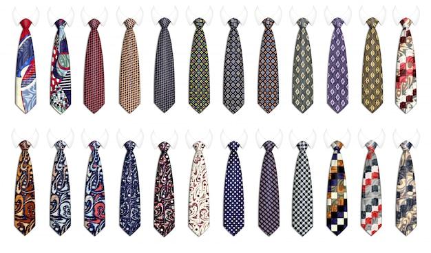 Mega set of ties for men's suits.  realistic illustration. Premium Vector