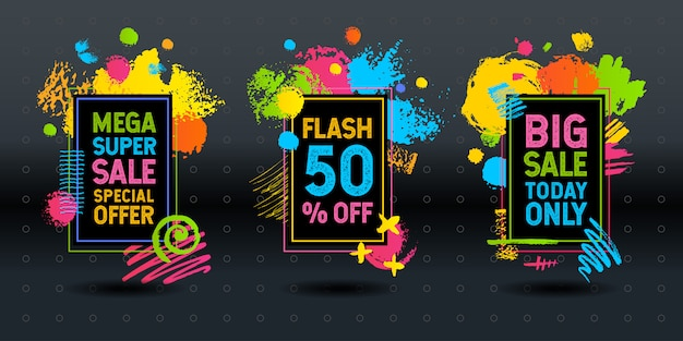 Mega super big flash sale brush stroke frame  abstract dynamic chalk chalkboard graphics colorfull  elements design business Premium Vector
