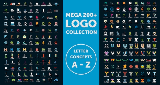 Коллекция логотипов mega Premium векторы