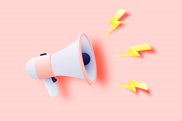 Megaphone announcement with paper art style Premium Vector