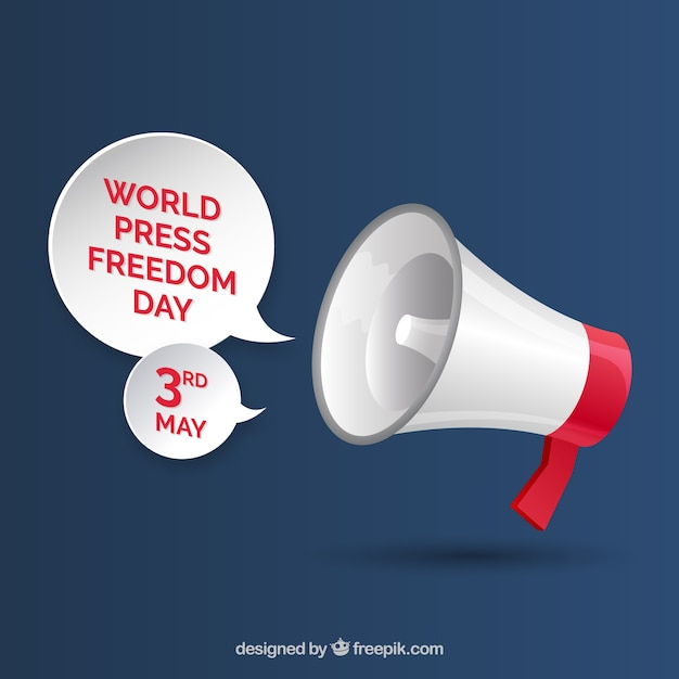 Megaphone background for the world press freedom day
