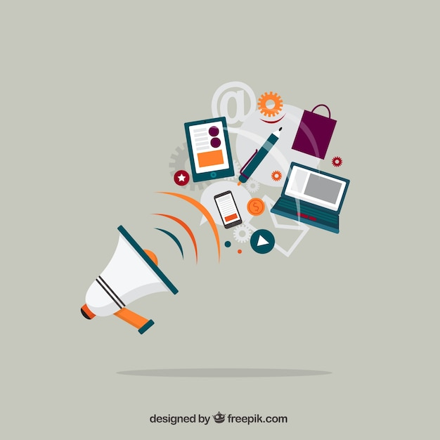 Megaphone and business equipment Free Vector