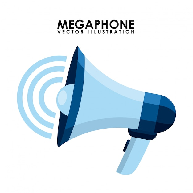 Megaphone design over white background vector illustration Premium Vector