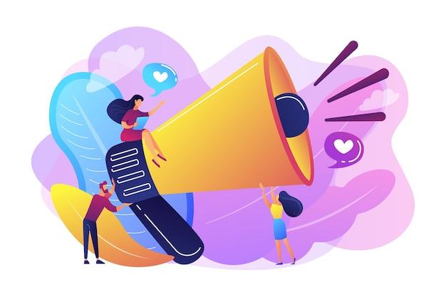 Продвижение и маркетинг мегафона, стратегия продвижения, концепция рекламной продукции Бесплатные векторы