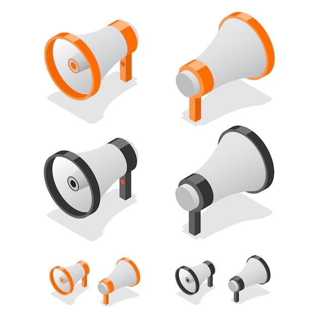 Megaphone set loudspeaker symbol. isometric view. Premium Vector