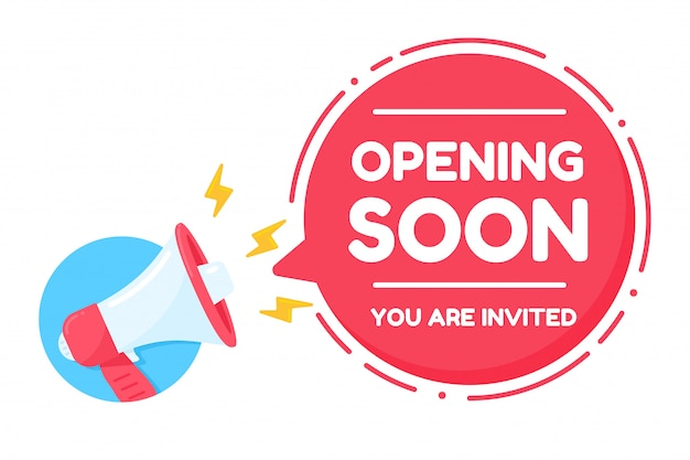 Megaphone shouting loudly announcement open soon you are invited Premium Vector