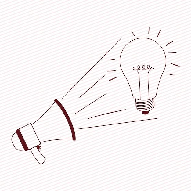 Megaphone sound with bulb Premium Vector