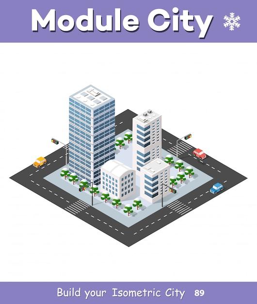 Megapolis 3d isometric Premium Vector