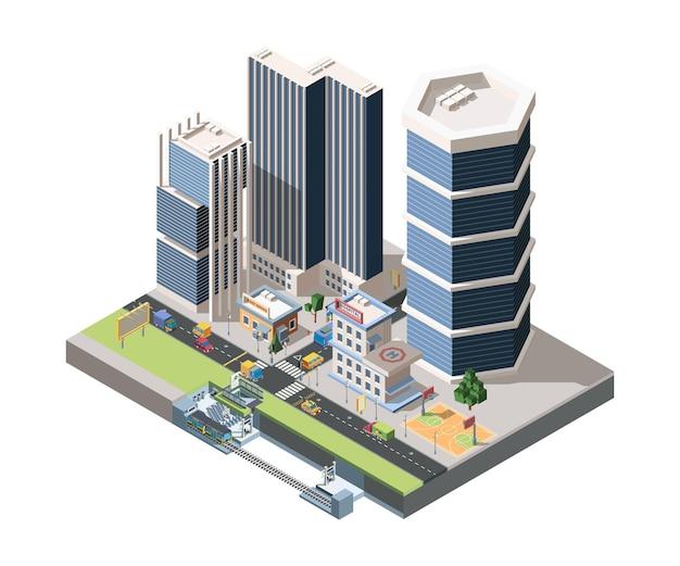 Megapolis 거리 풍경 자세한 아이소 메트릭 그림 프리미엄 벡터