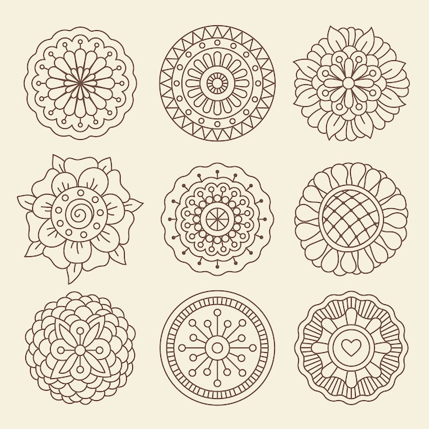 Mehndi indian henna tattoo flowers Premium Vector