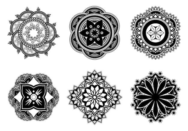 Mehndi 또는 mehendi 꽃 평면 만다라 세트. 문신 벡터 일러스트 컬렉션 장식 추상 만다라 기호. 인도 문화와 장식 개념 무료 벡터