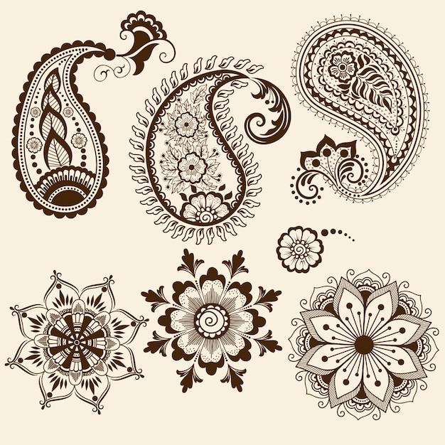 Иллюстрация орнамента mehndi Бесплатные векторы