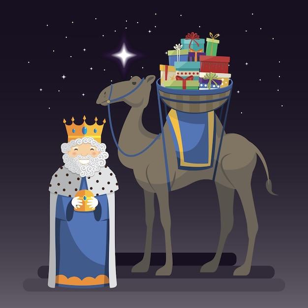 Melchior王の3人の王の日、ラクダと夜の贈り物 Premiumベクター