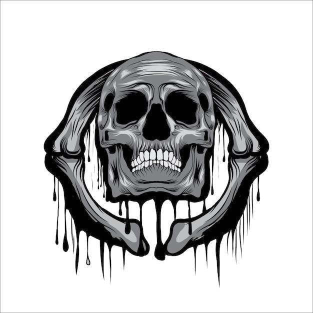 Melt skull head vector illustration Premium Vector
