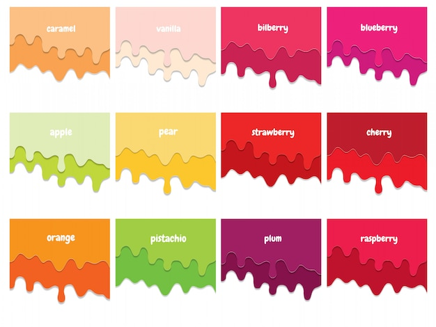 Melted flowing fruit syrup backgrounds set. 3d paper cut out layers. Premium Vector