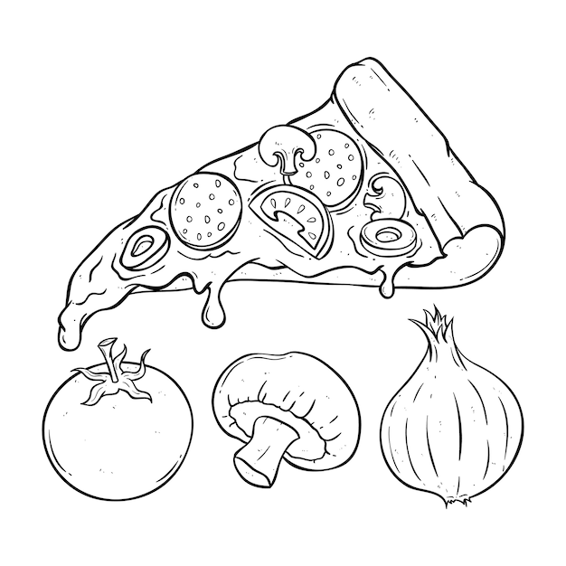 Melted pizza slice with tomato Premium Vector