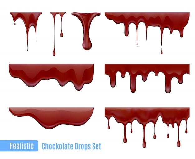 Insieme realistico di gocce di cioccolato gocciolante di fusione Vettore gratuito